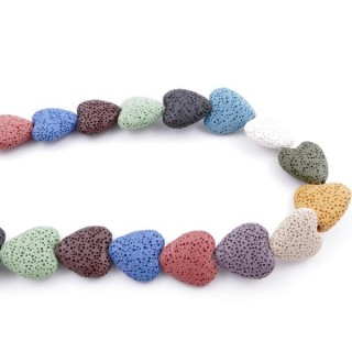 42573-09 STRING OF 20 MULTI-COLOURED 20 MM VOLCANIC LAVA HEARTS