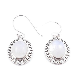 36756 STERLING SILVER AND MOONSTONE EARRINGS 18 X 14 MM