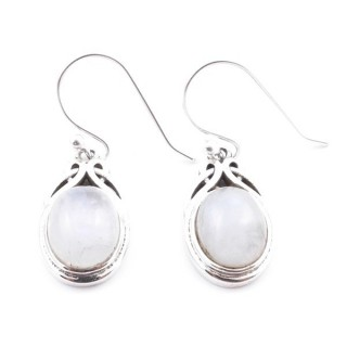 36757 STERLING SILVER AND MOONSTONE EARRINGS 18 X 11 MM