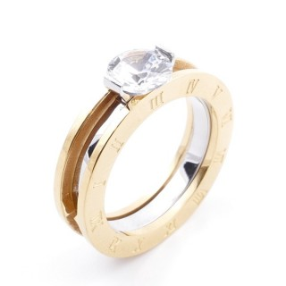 36830-17 TWO-TONE STAINLESS STEEL RING WITH ZIRCON SIZE 17