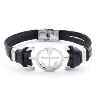 36908-01 STAINLESS STEEL AND BLACK LEATHER BRACELET