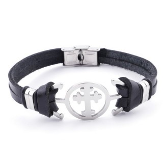 36908-02 STAINLESS STEEL AND BLACK LEATHER BRACELET