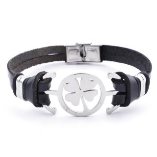 36908-06 STAINLESS STEEL AND BLACK LEATHER BRACELET