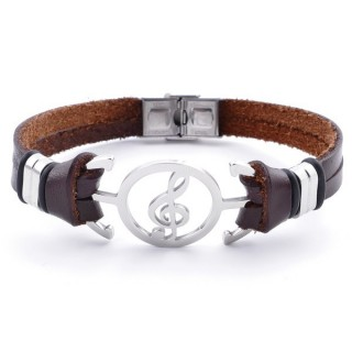 36908-17 STAINLESS STEEL AND BROWN LEATHER BRACELET