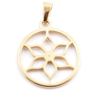 36946 ROUND 30 MM STAINLESS STEEL GOLD PENDANT