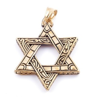 36866 STAR OF DAVID GOLD STAINLESS STEEL 45 X 35 MM PENDANT