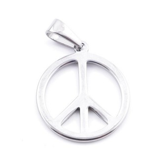 36928 PEACE SYMBOL STAINLESS STEEL 25 MM PENDANT