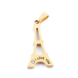 36861 EIFFEL TOWER SHAPED STAINLESS STEEL 30 X 15 MM PENDANT