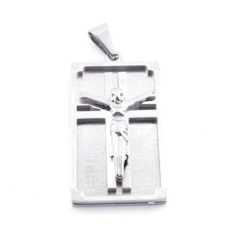 37052 STAINLESS STEEL 40 X 22 MM PADRE NUESTRO + CRUCIFIX PENDANT