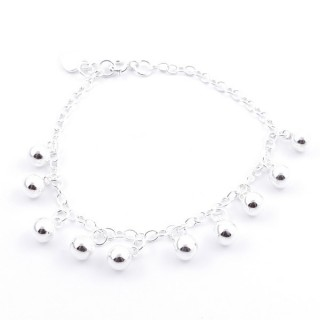 54007 SILVER 19 CM BRACLET WITH 6 MM HANGING BALLS