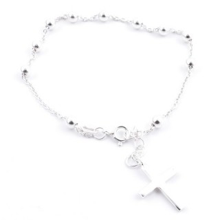 53041 STERLING SILVER 20 CM BRACELET WITH 4 MM BEADS + CROSS