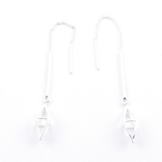 53027 SILVER 4 CM DIAMOND TYPE EARRINGS WITH 5 CM CHAIN