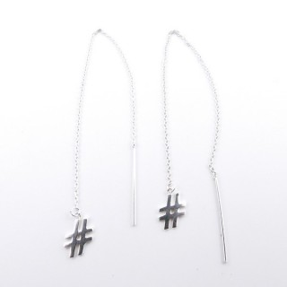 53033 SILVER 1 CM HASH TAG EARRINGS WITH 11 CM CHAIN