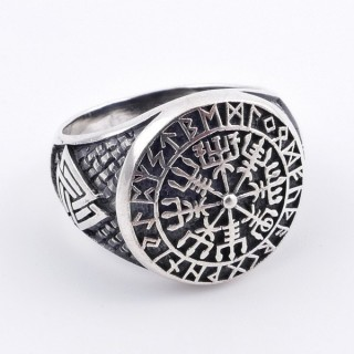 50039-18 SILVER 18 MM ESOTERIC SYMBOL RING. SIZE 18