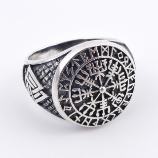 50039-19 SILVER 18 MM ESOTERIC SYMBOL RING. SIZE 19