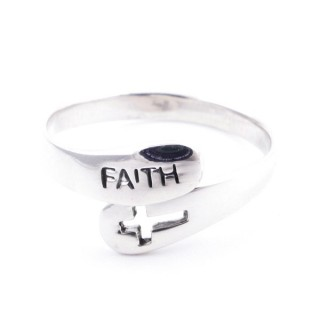 53052-19 SILVER RING WITH CROSS. 10 MM THICK. SIZE 19