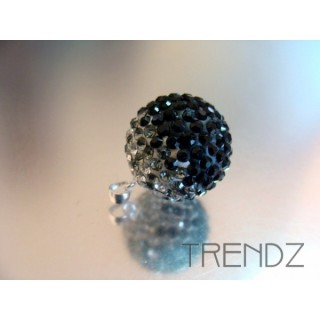 14847 GREY 18MM SILVER ZIRCON BALL PENDANT