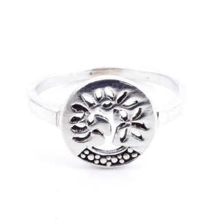 53048-18 SILVER RING WITH 10 MM TREE OF LIFE. SIZE 18