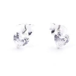 51061 SILVER & HEART SHAPED CRYSTAL 5 MM EARRINGS