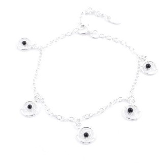 55152-02 STERLING SILVER BRACLET WITH HANGING DREAMCATCHER CHARMS