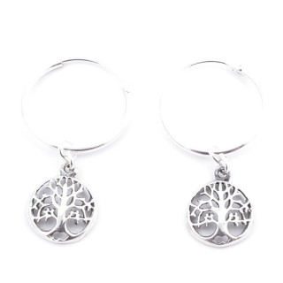51026 SILVER 925 18 MM HOOP EARRING WITH TREE OF LIFE CHARMS