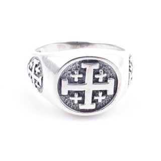 50082-18 STERLING SILVER RING WITH CROSS. WIDTH: 12 MM