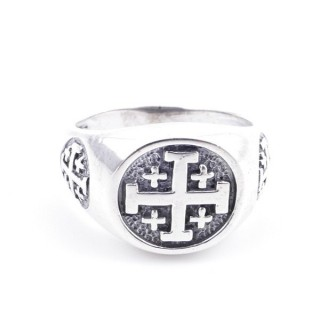 50082-19 STERLING SILVER RING WITH CROSS. WIDTH: 12 MM