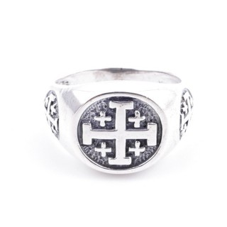 50082-20 STERLING SILVER RING WITH CROSS. WIDTH: 12 MM
