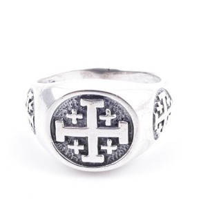 50082-21 STERLING SILVER RING WITH CROSS. WIDTH: 12 MM