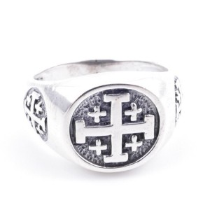 50082-22 STERLING SILVER RING WITH CROSS. WIDTH: 12 MM
