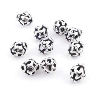36690 PACK OF 10 BEADS OF 8 X 6 MM IN SILVER 925