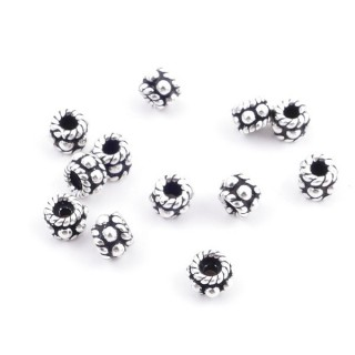 36692 PACK OF 12 BEADS OF 4 X 3 MM IN SILVER 925