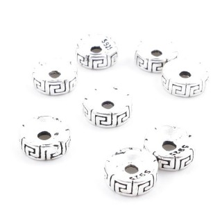 37110 PACK OF 8 STERLING SILVER 7 X 2 MM DISCS