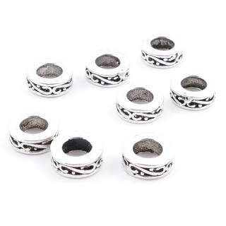 37111 PACK OF 8 SILVER 8 X 3 MM DISCS WITH 4 MM HOLE