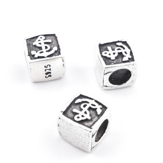 37114 PACK OF 3 STERLING SILVER 7 MM CUBE BEADS