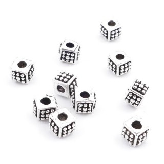 37115 PACK OF 10 STERLING SILVER 5 X 3 MM CUBE BEADS