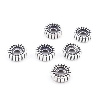 37126 PACK OF 6 STERLING SILVER 7 X 2 MM DISCS