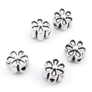 37130 5 SILVER 925 7 MM FLOWER SHAPED BEADS