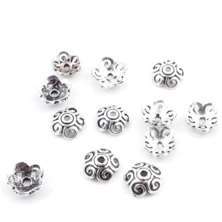 37138 PACK OF 12 SILVER 925 BEADS CAPS 6 MM