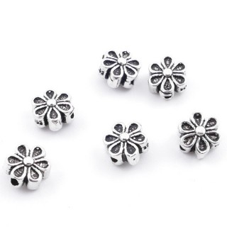 37146 PACK OF 6 SILVER FLOWER BEADS 6 X 3 MM