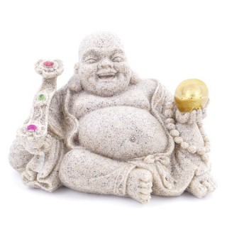 30645 SMILING BUDDHA FIGURE IN RESIN. SIZE: 7 X 11 X 8 CM