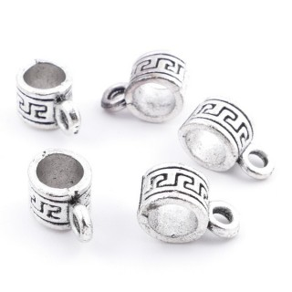 36214-01 PACK OF 25 METAL CHARMS WITH JUMP RINGS 6 X 5 MM & 4 MM HOLE