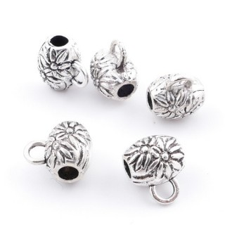 36214-04 PACK OF 18 METAL CHARMS WITH JUMP RINGS 8 X 7 MM & 2 MM HOLE