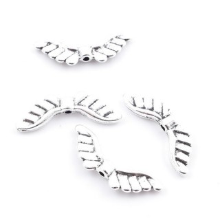 36134-05 PACK OF 20 METAL WING SHAPED BEADS 8 X 23 MM