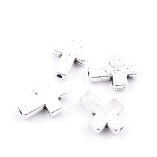 36134-12 PACK OF 10 METAL CROSS CHARMS WITH OLE 16 X 12 MM