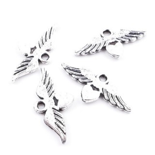 36134-22 PACK OF 25 METAL HEART WITH WINGS 11 X 23 MM CHARMS