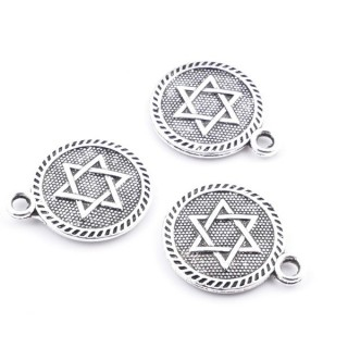 36134-23 PACK OF 20 METAL STAR OF DAVID 15 MM CHARMS