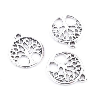 36134-24 PACK OF 25 TREE OF LIFE METAL 15 MM CHARMS