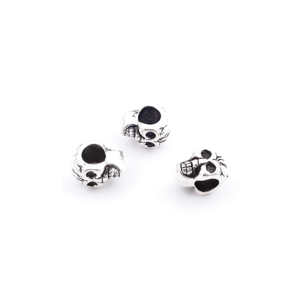 36134-44 PACK OF 10 METAL 12 X 7 MM SKULL SHAPED BEADS