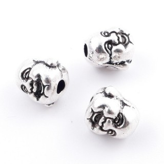 36134-47 PACK OF 10 METAL LAUGHING BUDDHA BEADS 9 X 7 MM